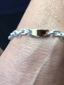 18KT Yellow Gold And Sterling Silver ID Bracelet