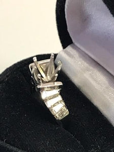 Ladies 14KT White Gold Diamond Remount With Baguettes