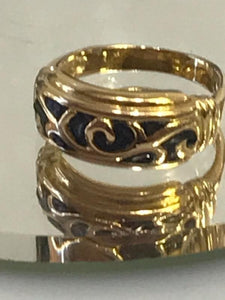 Vintage 14KT Yellow Gold Ring With Hand Enamel Work And Scroll Designed Top