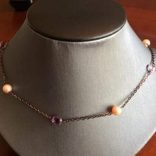 Load image into Gallery viewer, Purple Tone 14KT Yellow Gold Amethyst & Pearl Necklace