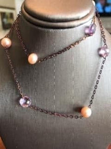 Purple Tone 14KT Yellow Gold Amethyst & Pearl Necklace