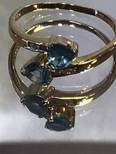Load image into Gallery viewer, 14KT Yellow Gold Heart Shaped Blue Topaz & Diamond Ring