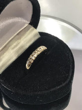 Load image into Gallery viewer, 14KT Yellow Gold Double Diamond Band Ring Feminine & Gorgeous Classic