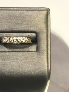 14KT Yellow Gold Double Diamond Band Ring Feminine & Gorgeous Classic