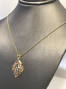 14KT Solid Yellow Gold Chain With Diamond Cut Rose And Yellow Gold Pendant