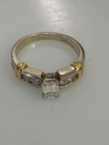 18KT 2-Tone Gold Emerald Cut Diamond Engagement Ring