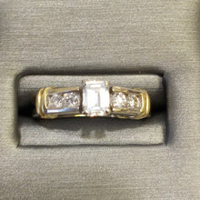 Load image into Gallery viewer, 18KT 2-Tone Gold Emerald Cut Diamond Engagement Ring