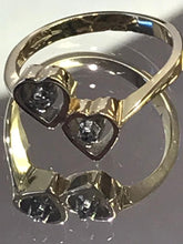Load image into Gallery viewer, 14KT Solid Yellow Gold Kissing Heart Diamond Ring