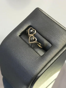 14KT Solid Yellow Gold Kissing Heart Diamond Ring
