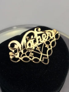 14KT Solid Yellow Gold Mother Charm Pendant Pin Italian Italy Gold