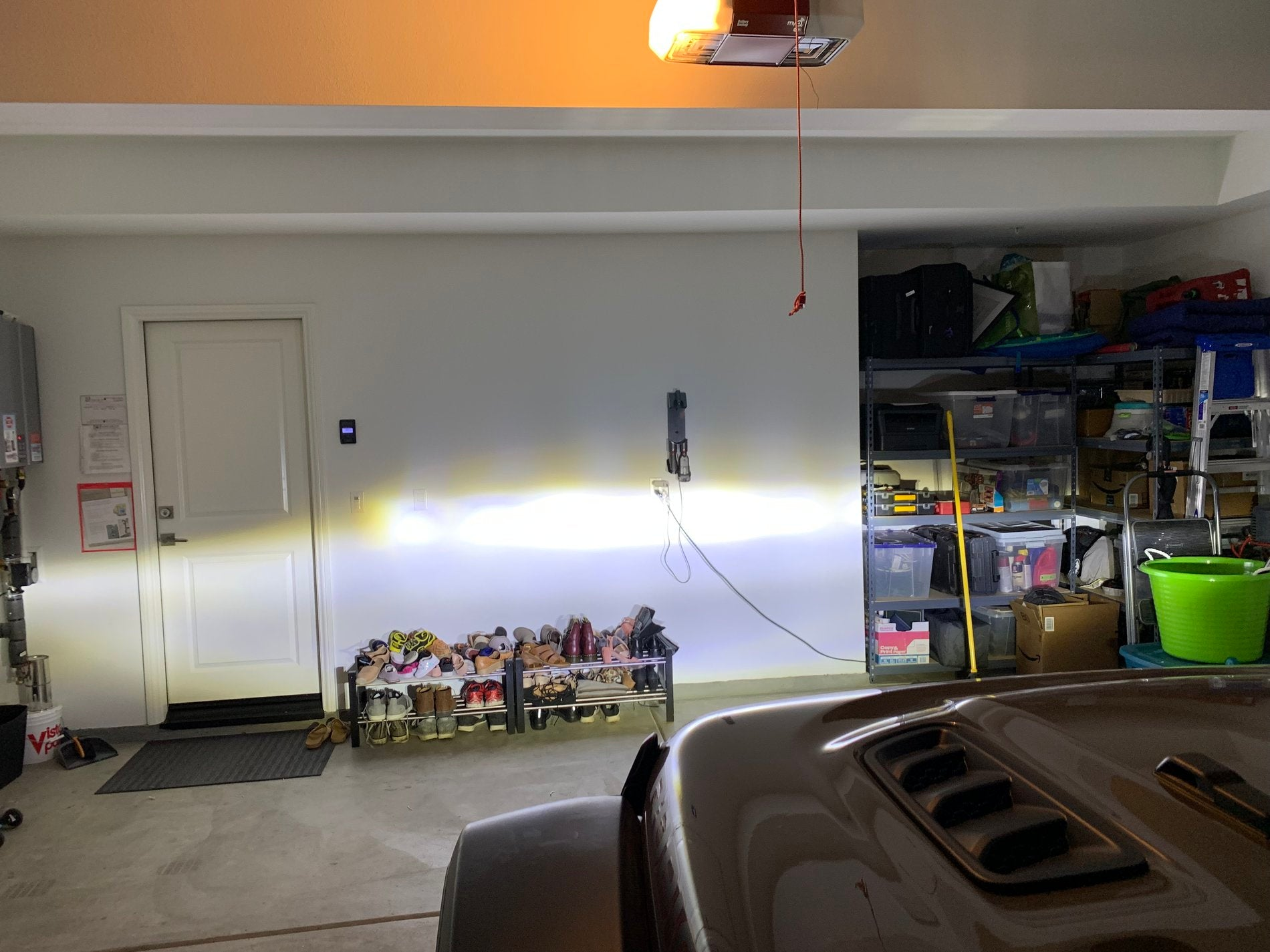 LED beam on wall