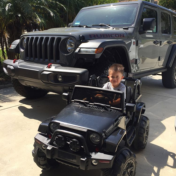 Apollo cruising in his Jeep Wrangler Power Wheels