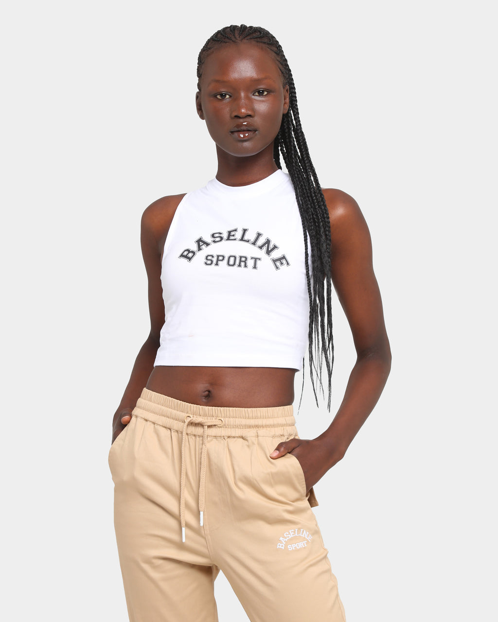 Baseline Transform Cropped Tank White