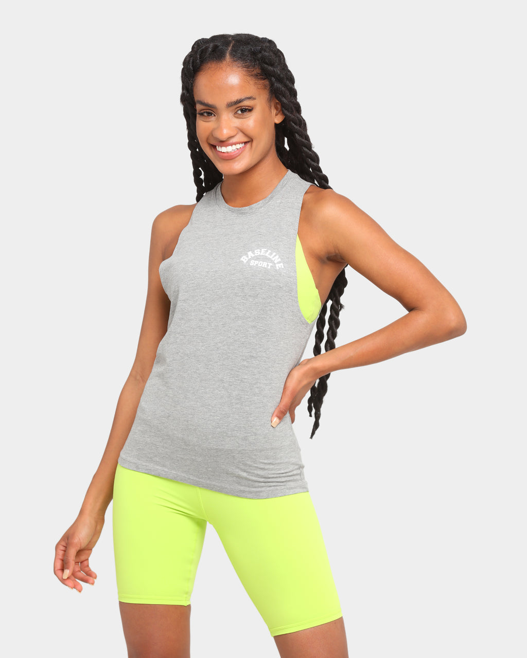 Baseline Twisted Workout Tank Grey Marle