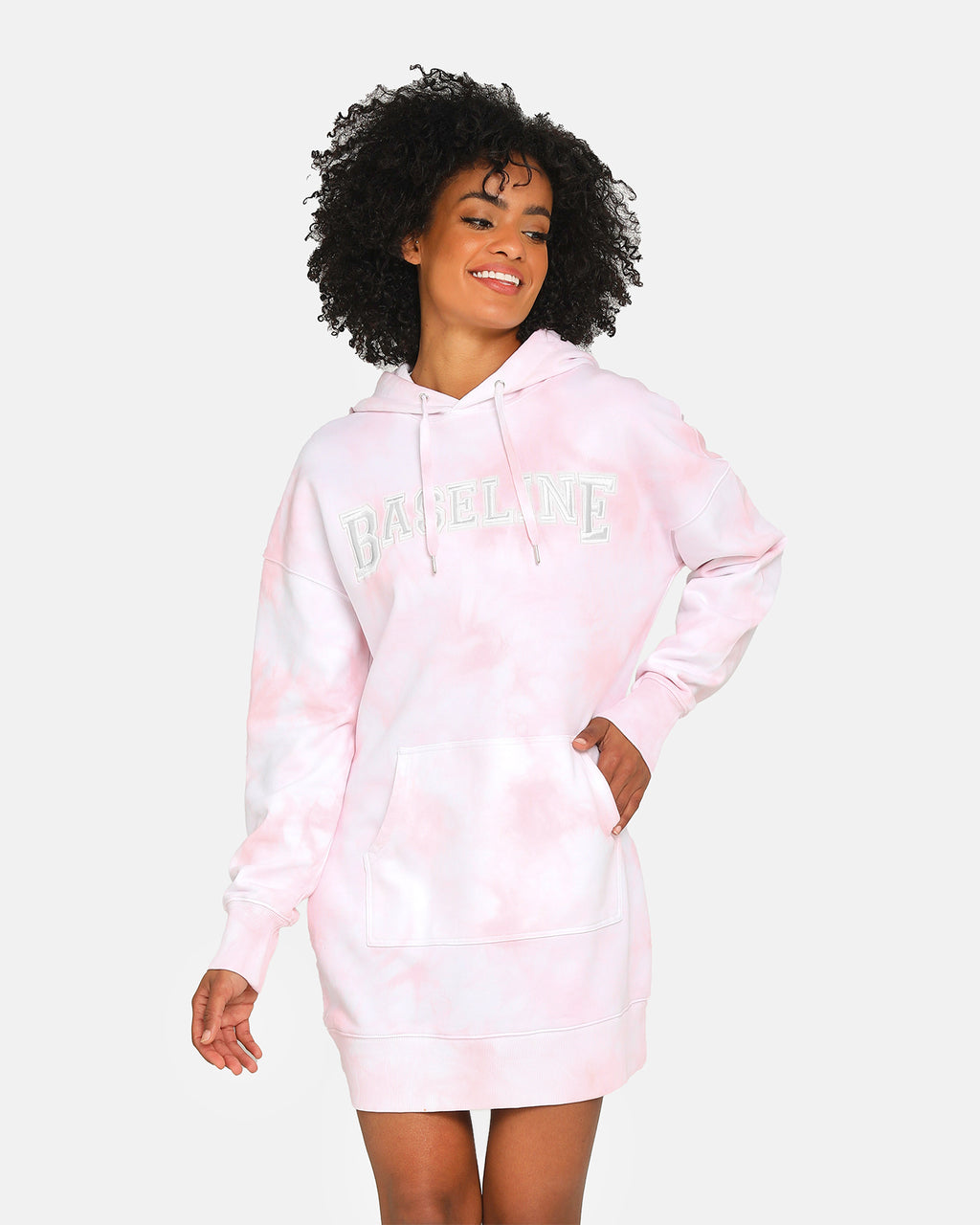 Baseline Stand Out Hooded Dress Pastel Pink Tie Dye