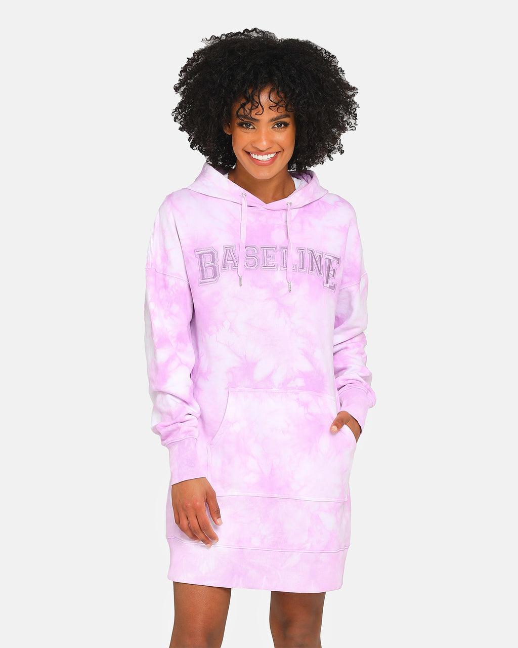 Baseline Stand Out Hooded Dress Pastel Purple Tie Dye
