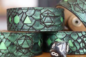Polyhedral Dice bracelet - Green dragon