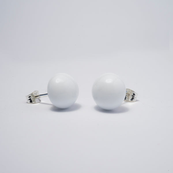Pompom Earrings White