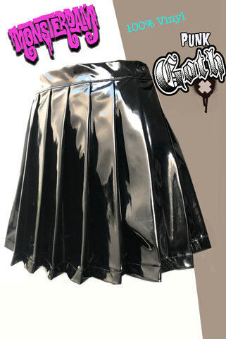 Vinyl Pleated Skirt and Mini Skirt