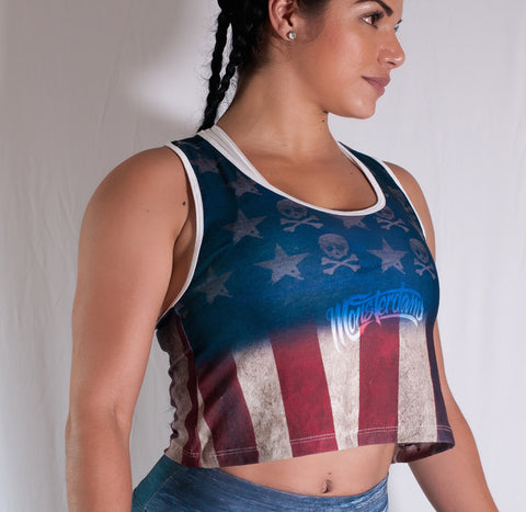 Usa Grunge Flag Cut Tank top