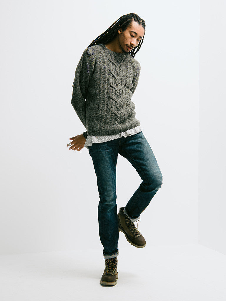 Alex Mill Wool Donegal Cable Crew - GENTRY NYC - 1