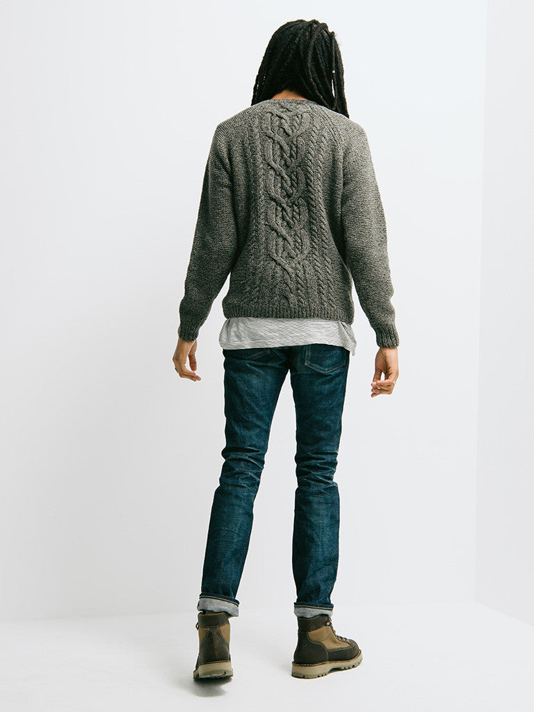 Alex Mill Wool Donegal Cable Crew - GENTRY NYC - 3