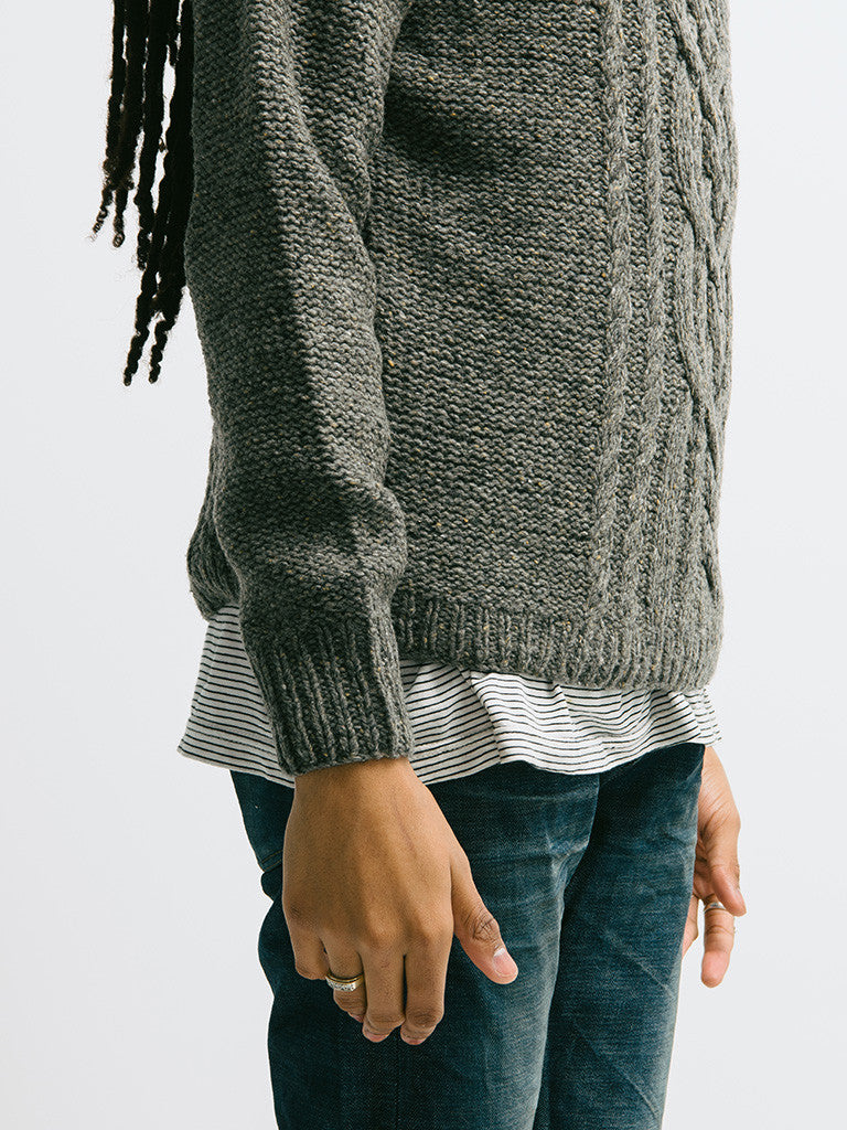 Alex Mill Wool Donegal Cable Crew - GENTRY NYC - 5