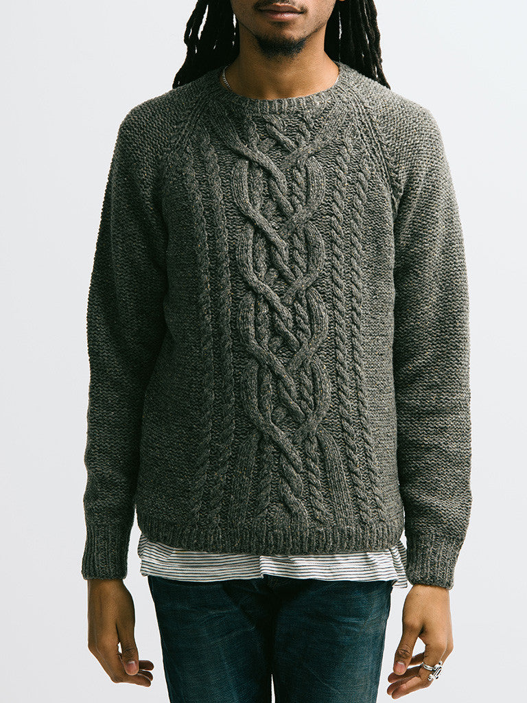 Alex Mill Wool Donegal Cable Crew - GENTRY NYC - 6