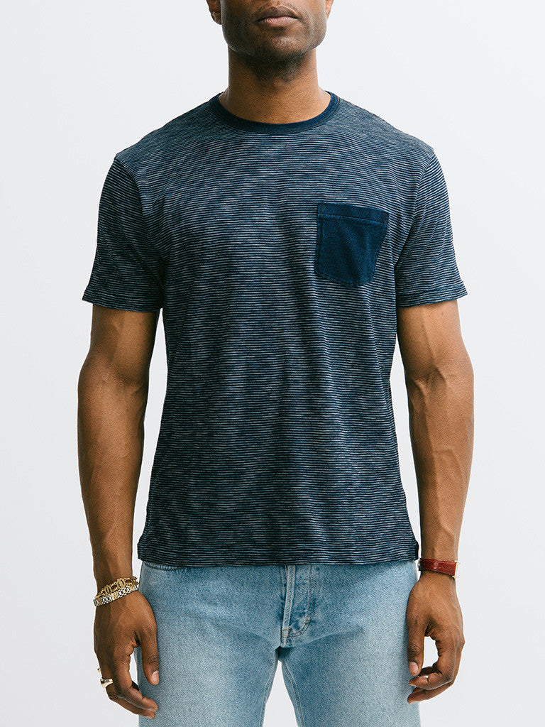Alex Mill Indigo Short Sleeve Pocket Crew - GENTRY NYC - 6