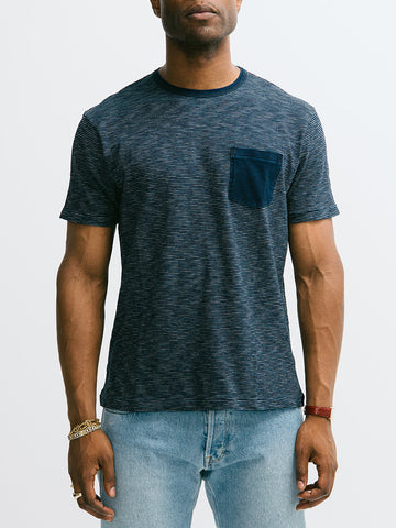 Alex Mill Indigo Short Sleeve Pocket Crew - GENTRY NYC - 1