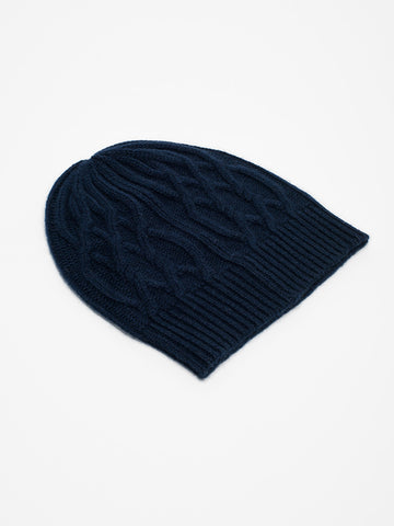 Alex Mill CASHMERE CABLE BEANIE-NAVY - GENTRY NYC