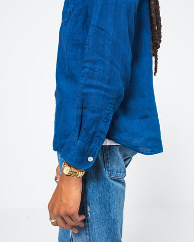 Indigo Linen Collar Shirt