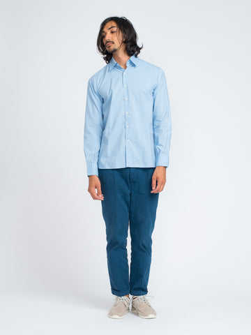 Ovadia & Sons MIDWOOD FRENCH PLACKET SHIRT - BLUE SILK BLEND - GENTRY NYC - 1