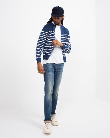 Striped Crew Cardigan