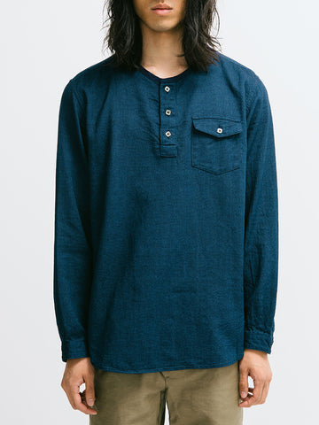 Blue Blue Cotton Dobby Band-Collar Pull Shirt - GENTRY NYC - 1
