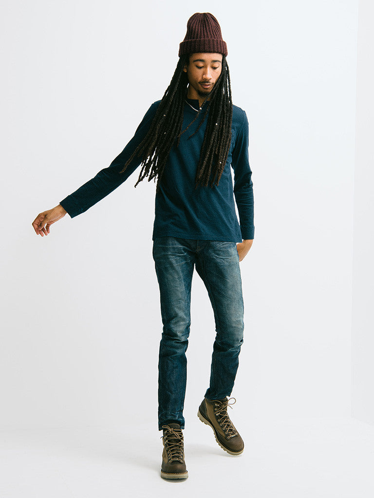 Eidos Corto Garment Dyed Long Sleeve Henley - GENTRY NYC - 1