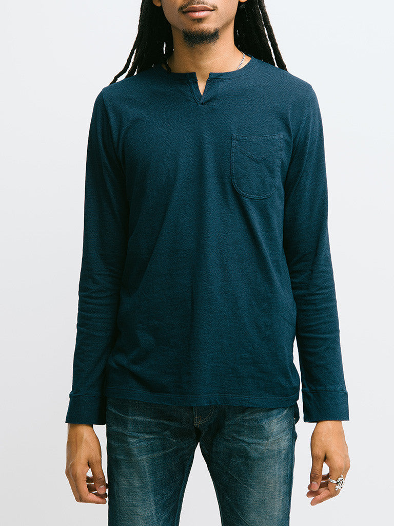 Eidos Corto Garment Dyed Long Sleeve Henley - GENTRY NYC - 5