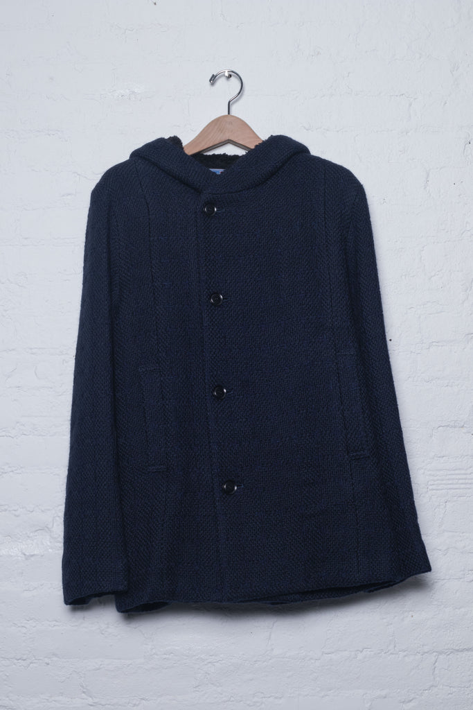 Curb Pattern Stitched Roving Wool Hooded Coat