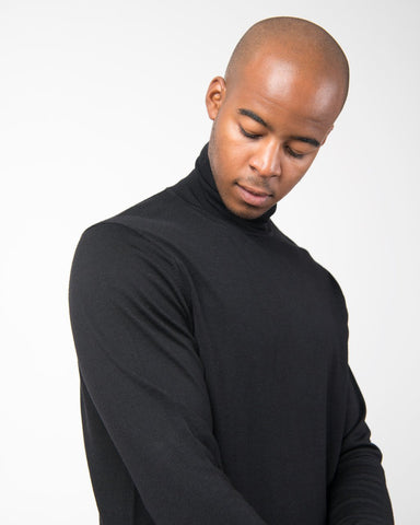Fine Merino Long Sleeve Roll Neck Jumper - Black
