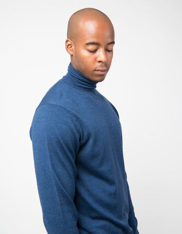 Fine Merino Long Sleeve Roll Neck Jumper - Masonry Melange