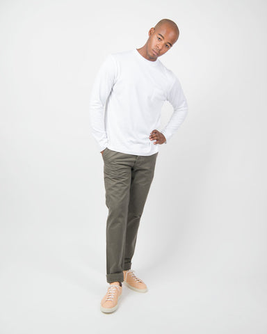 60s Long Sleeve Crew Neck with Pocket - White