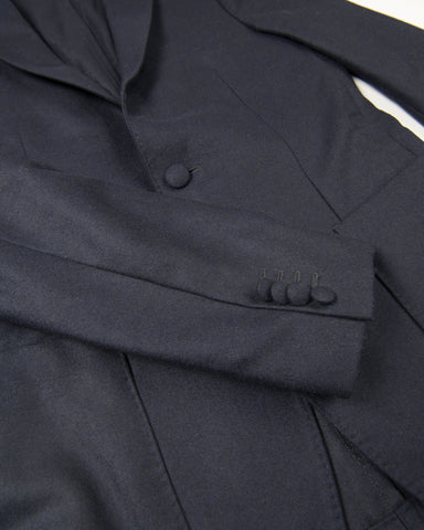 Flannel Jacket Flap Pocket Italian Cashmere-Navy