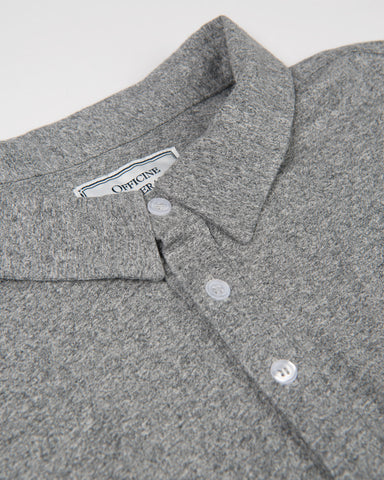 Button Down Polo Long-Sleeve Japanese Jersey-Mid Grey Heather