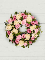 Funeral wreath made with flowers