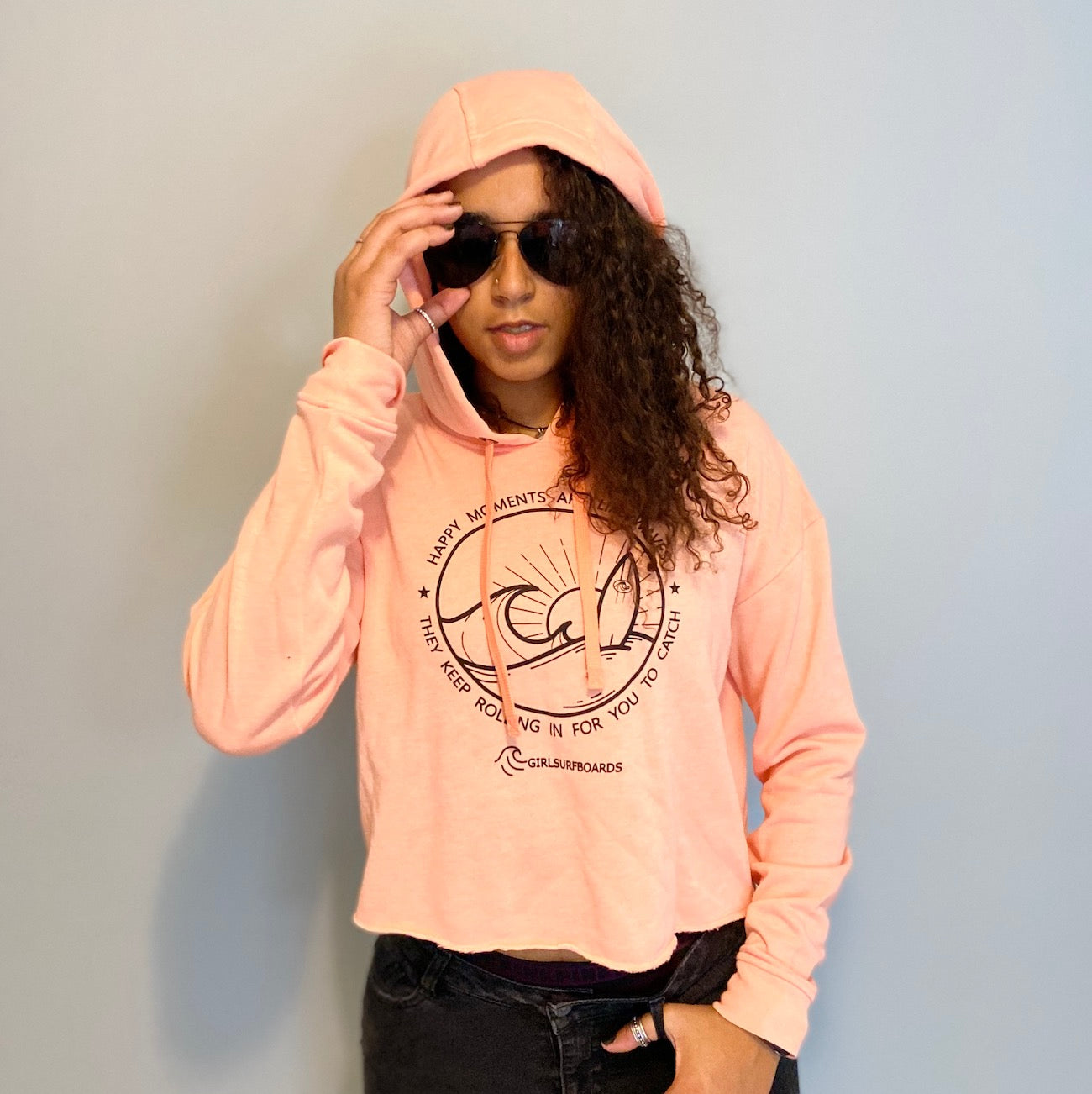 Happy Vibes Crop Hoodie in Baby Coral by Girlsurfboards.com