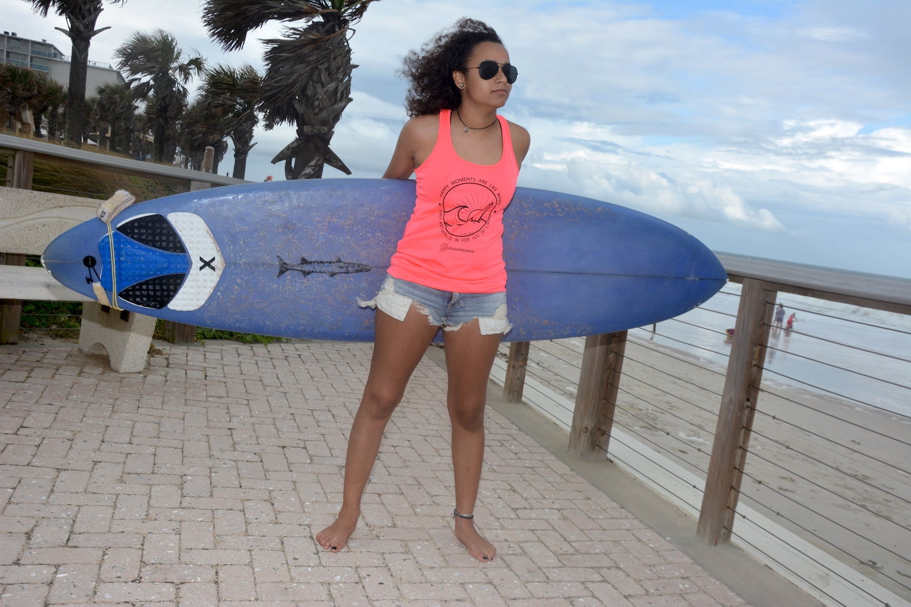 Happy Vibe Quick Dry Surfwear Racerback Tank Top, color Hot Coral
