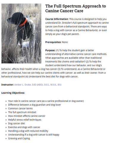 Canine Cancer Course