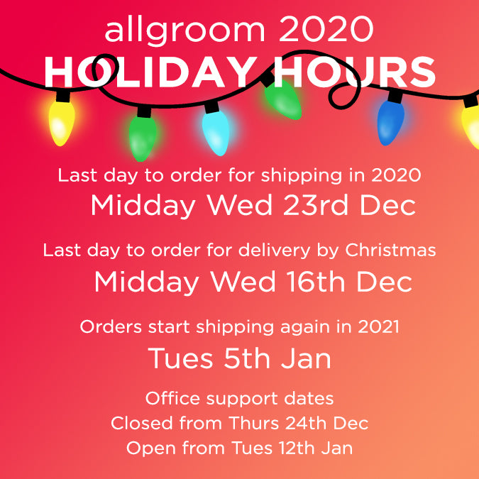 allgroom holiday open and close dates