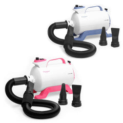 two Shernbao Cyclone dog grooming dryers shown in both blue and pink both with flexible dryer hose and nozzles