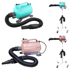 Shernbao Super Cyclone dryer in dusky pink and turquoise colours shown by themselves with a flexible hose and nozzle fitted and shown on a dryer stand with a rigid hands free hose fitted